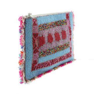 tas clutch print aztec blauw roze