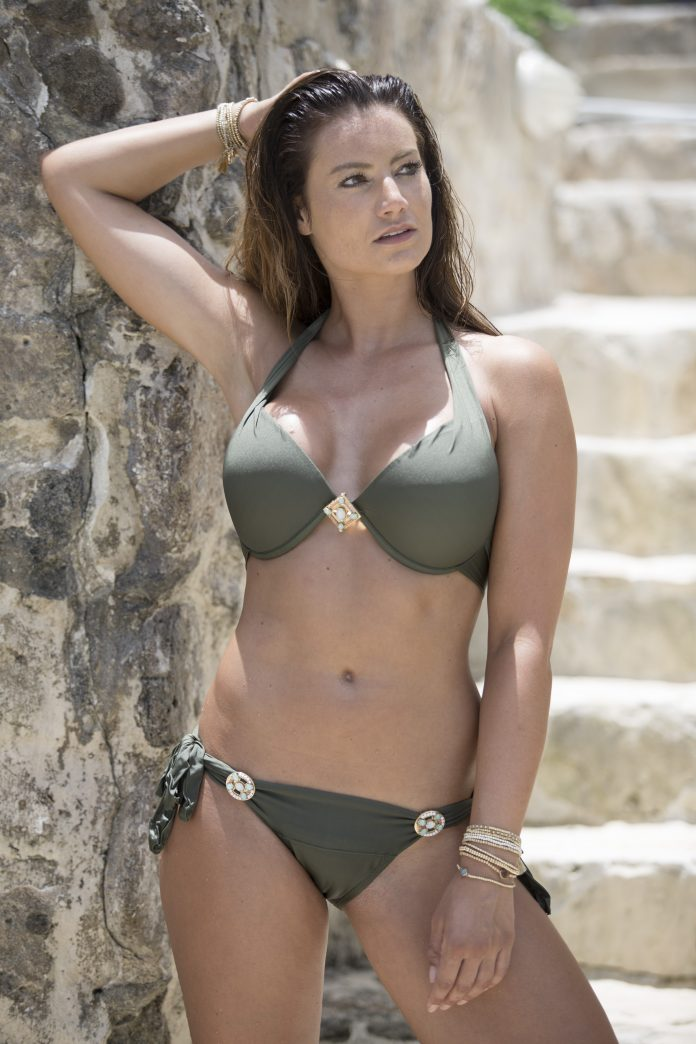 BOHO bikini's supreme halter triangel olive groen iconic bottom