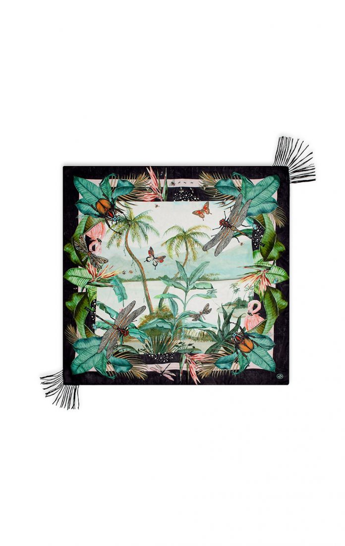 AMENAPIH sjaal scarves jungle blauw goud print trendy zomer 2018